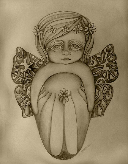 Gossamer Fairy drawing by © Karin  Taylor