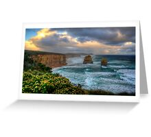 Sun setting over the twelve apostles in landscape Greeting Card