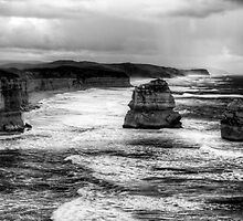 A late stormy afternoon with the twelve apostles in monochrome by Elana Bailey