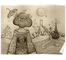 Teapot Topiary drawing Poster