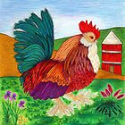 """Rooster with Silo"" by franticflagwave"