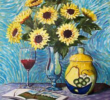 Still Life with Sunflowers and Wine by RBMcGrathArt