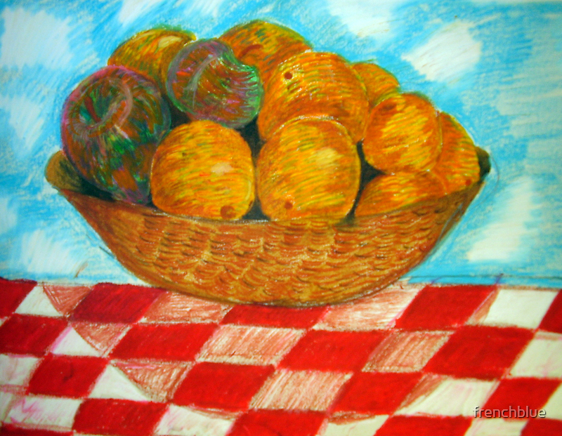 my childs artwork - bowl of fruit by frenchblue