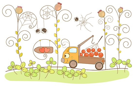 Small truck with ashberry in the grass by Lalayf