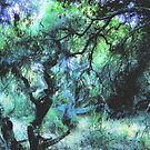 Composition With Gnarled Trees and Tangled Branches in Blue, Black, and Green With Accents of Other Colors #2 by Ivana Redwine