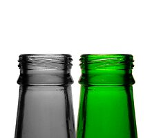 Two Beer Bottles, Standing on a Wall by tommygee