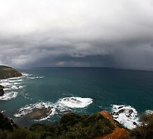A storm approaches off the coast of Cape Otway, Victoria. by Tim Brennan