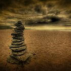 Stone stack on Loe sands. by phil tobin