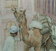 Man with camel, Bikaner India $230 AUD by Lesley  Coverdale