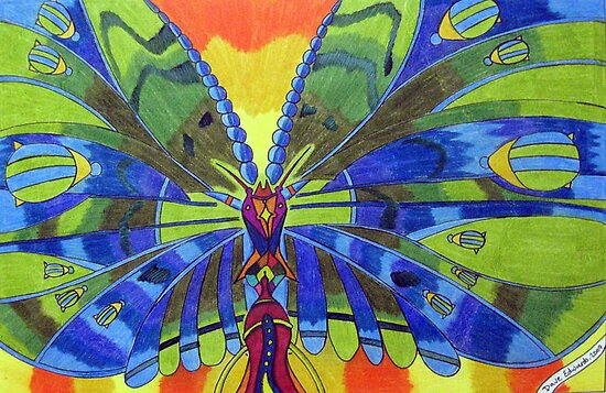 276 - BUTTERFLY DESIGN - DAVE EDWARDS - COLOURED PENCILS, ACRYLIC & FINELINERS - 2009 by BLYTHART