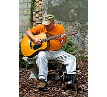 A Man A Dog And A Song Photographic Print