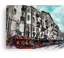 Savannah Georgia USA watercolour  and ink cityscape drawing Canvas Print