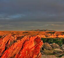 Writing on Stone at Sunset by Alyce Taylor