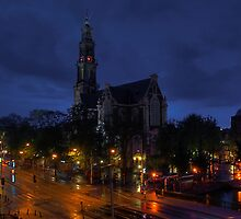 Amsterdam. Westerkerk at night by andreisky