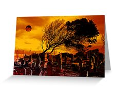 Dark Moon Over The Graveyard Greeting Card