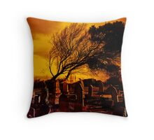 Dark Moon Over The Graveyard Throw Pillow