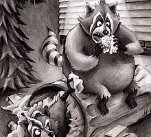 Raccoons Reeling Through Junk Food by Patrick Brickman