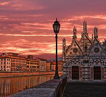 Arno Embankment. Church of Santa Maria della Spina. by vadim19