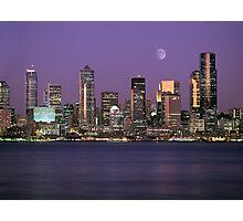 Seattle, Washington city skyline at night Photographic Print