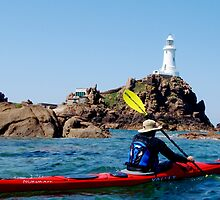 kayaking Corbiere lighthouse Jersey by Gary Power