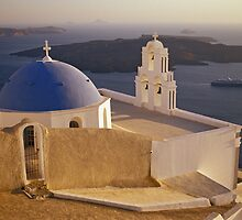 Greek Church with Cruise Ship, Santorini  by Petr Svarc