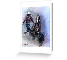 Calf Roper Quarter Horse Portrait Greeting Card