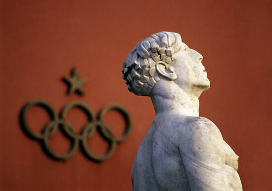 Athlete Statue and Olympic Rings, Foro Italico, Rome by Petr Svarc