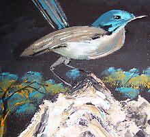 Blue Breasted Wren - a delightful little bird by Margaret Morgan (Watkins)