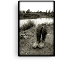 river and boots Canvas Print