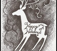 Deer Christmas Card by Kat Anderson