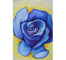 Blue Rose - Oil Pastel Photographic Print