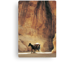 Cart in Siq, Petra, Jordan Canvas Print