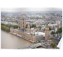 Ariel View of Westminster and Big Ben Poster