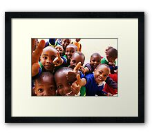 Thumbs Up - Mshiri Pre Primary students, Tanzania Framed Print