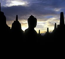 Stupas and Buddha Statue at Sunset, Borobudur  by Petr Svarc