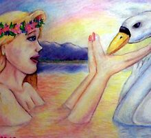 Leda and the Swan by DarkRubyMoon