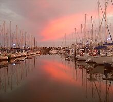 Sunrise at North Haven Marina, South Australia. by Gillian Bates