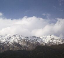 Kerkis in Snow, Samos, Greece one of the highest peaks in Greece by JANET SUMMERS