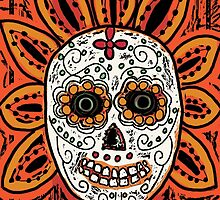 DAY OF THE DEAD, DIA DE LOS MUERTOS SKULL WOODCUT by Frances Perea