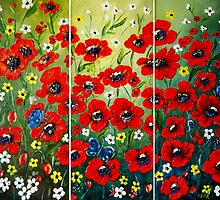"""Poppy Triptych"" - oil painting by Avril Brand"