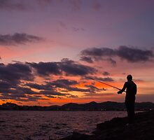 Sunset and fisherman in Ibiza by naranzaria
