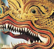 Detail of Dragon Deity Statue, Thailand  by Petr Svarc
