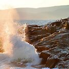 """Late Evening Sun and Surf at Schoodic Point' by Scott Bricker"