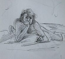 Drawing in my bed 2 by Francesca Romana Brogani