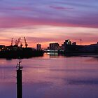 sunset over the shipyards ... Glasgow  by clara  caulfield