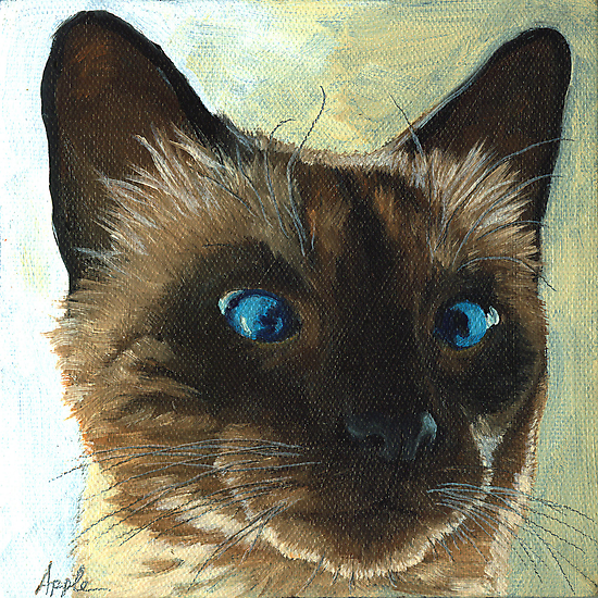 Totally Siamese- Animal Portrait by LindaAppleArt