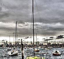 St. Kilda Marina and City Skyline by Joshua Hakman  Photography Pty Ltd