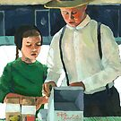 Farmers Market - World of the Amish by LindaAppleArt