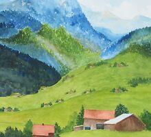 Austrian Mountain Scene by Doris Currier