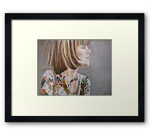 Charlotte: Let me do it!, watercolor and mixed media on paper Framed Print